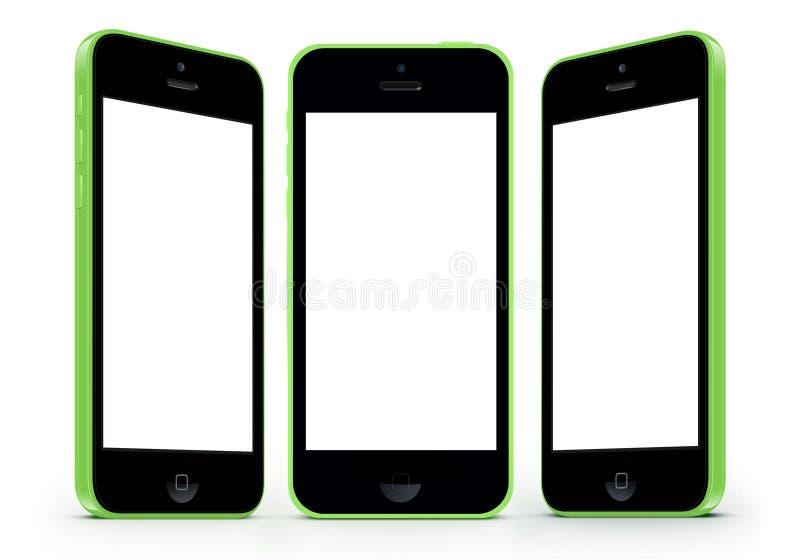 与白色屏幕的IPhone 5c 免版税库存图片