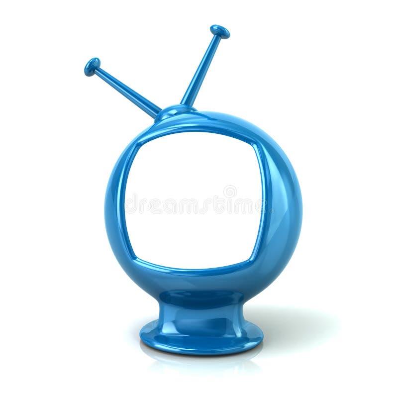 与白色屏幕3d例证的蓝色减速火箭的电视在白色backgro 库存例证