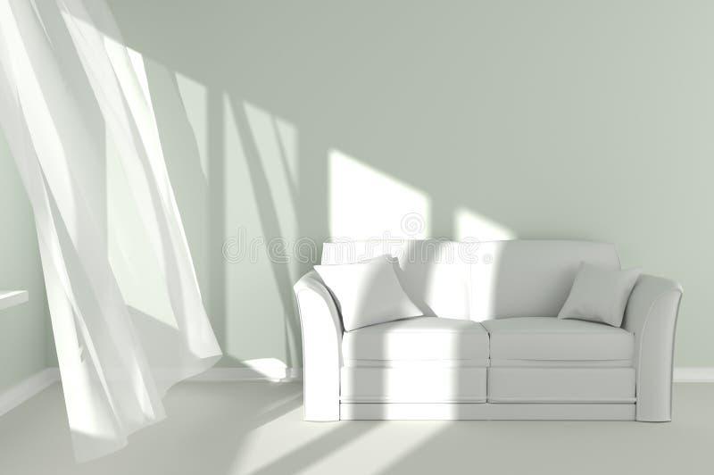 与白色帷幕和长沙发的现代室内部 库存例证