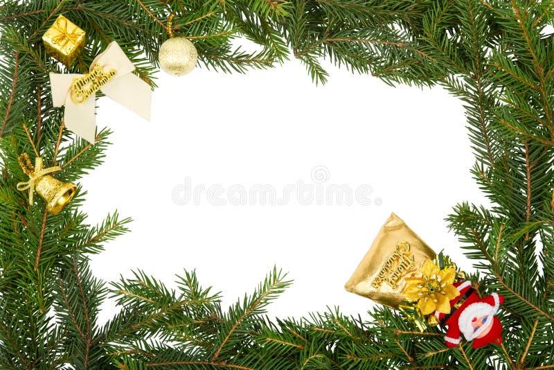 与白色弓、圣诞老人和黄色装饰的圣诞节框架 免版税图库摄影