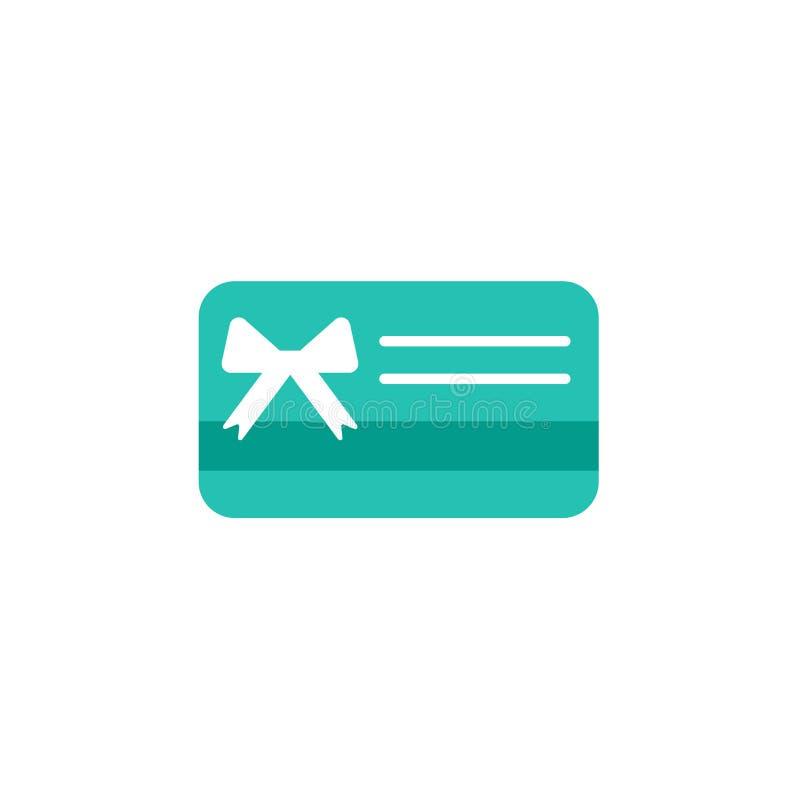 与白色弓和丝带的蓝色信用转账卡 礼品券象 银行当前标志 传染媒介平的象 皇族释放例证