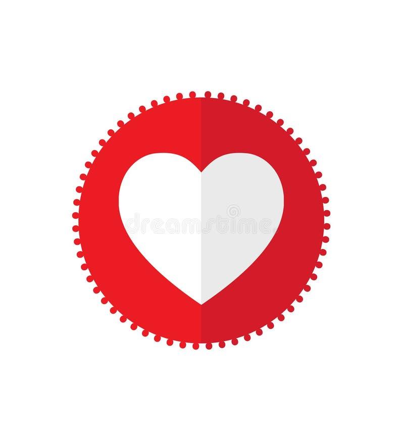 与白色心脏的红色象 代表爱的简单和干净的网象 向量例证