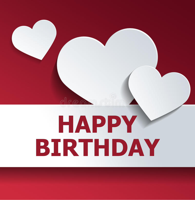 与白色心脏裁减出口的生日贺卡在红色 库存例证