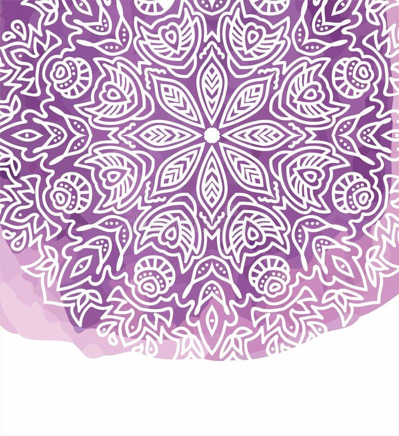 与白色手拉的回合乱画和坛场的紫色水彩油漆背景 皇族释放例证
