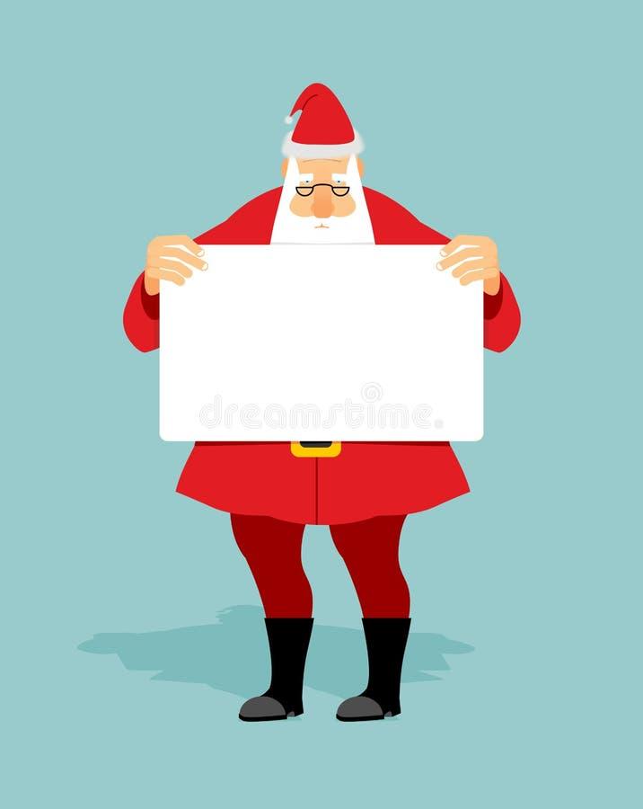 与白色手空白纸的圣诞老人  圣诞节字符举行 库存例证