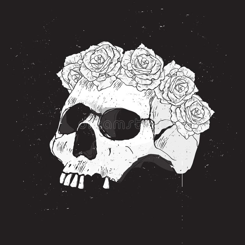 与白色抽象人的头骨的愉快的万圣节传染媒介例证有玫瑰花圈的  皇族释放例证