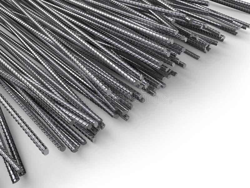 与白色拷贝空间的钢增强钢筋 向量例证