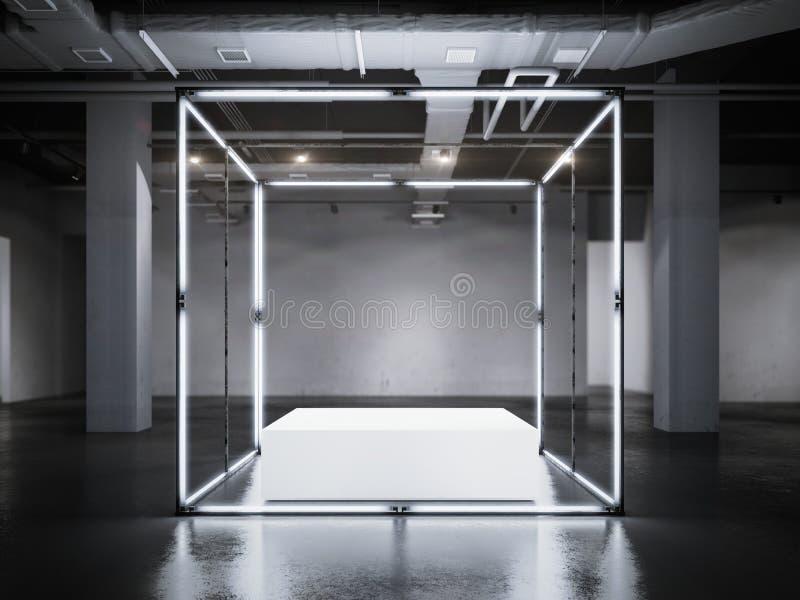 与白色指挥台的现代发光的陈列室 3d翻译 库存照片