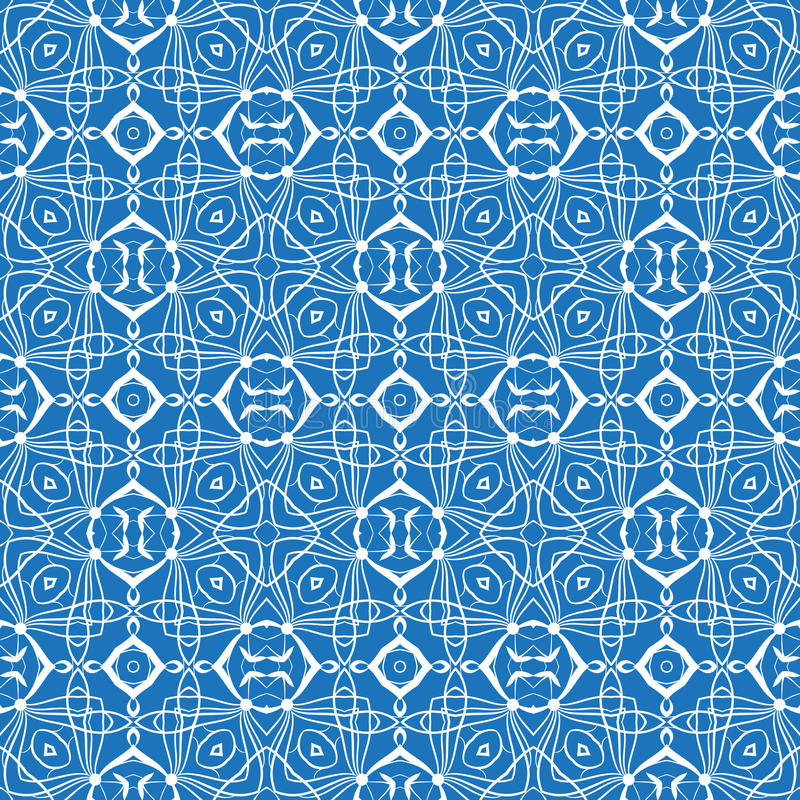 与白色无缝的几何样式的蓝色布料 库存例证