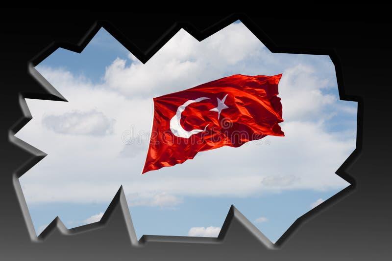 与白色星和月亮的土耳其国旗在天空 免版税库存图片