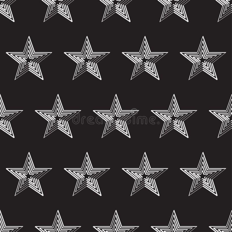 与白色星的无缝的样式反对黑色 向量例证