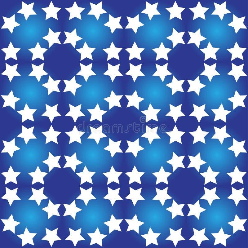 与白色星的无缝的样式 库存例证
