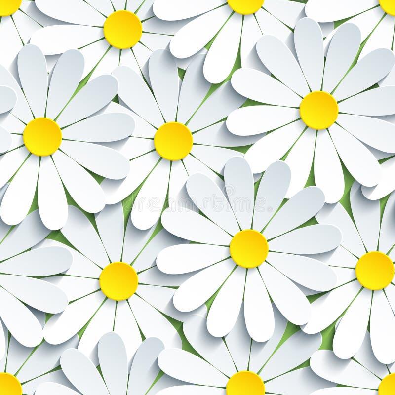 与白色春黄菊的现代无缝的样式 库存例证