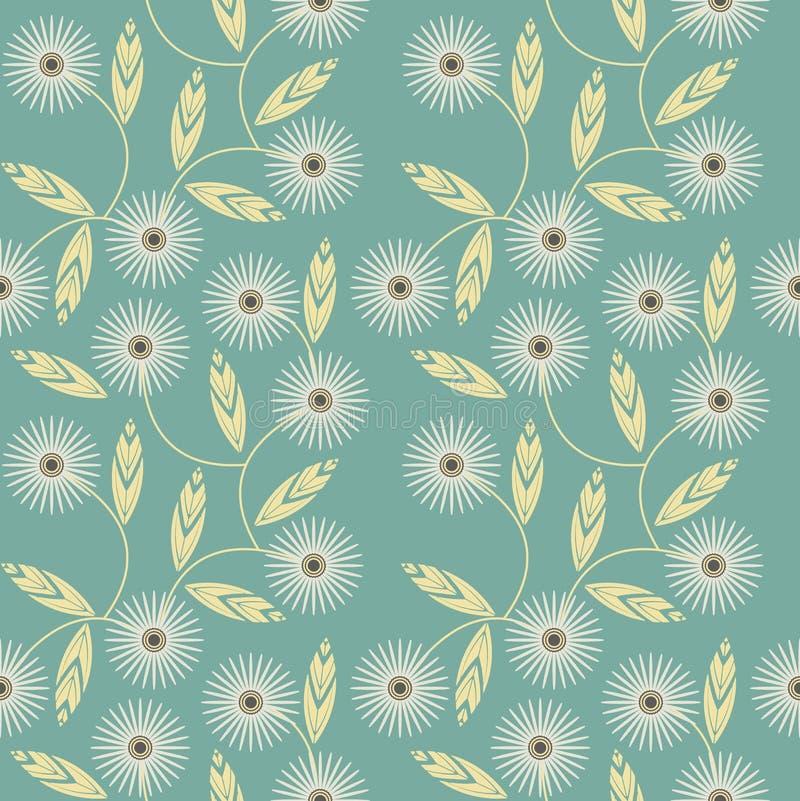 与白色春黄菊的无缝的样式在绿色背景开花 向量例证