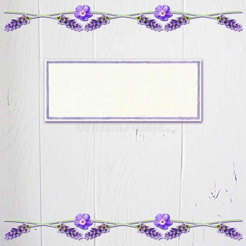 与白色木头的淡紫色花卉剪贴薄头版背景 向量例证