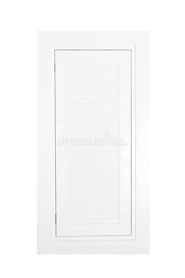 与白色木快门的接近的窗口 库存照片