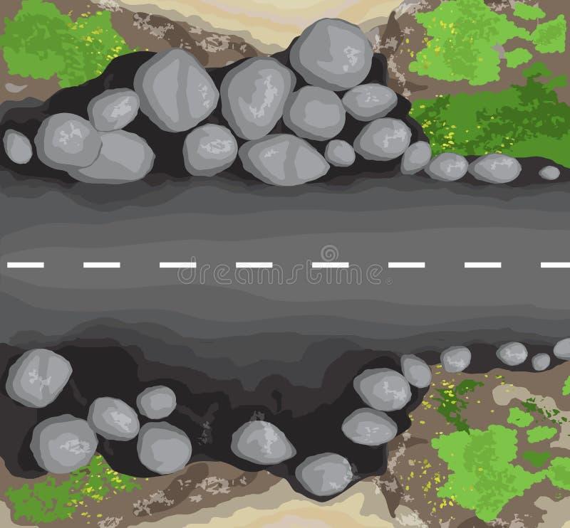 与白色条纹的柏油路纹理 顶视图 库存例证