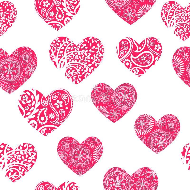 与白色样式的无缝的背景在桃红色心脏 向量例证