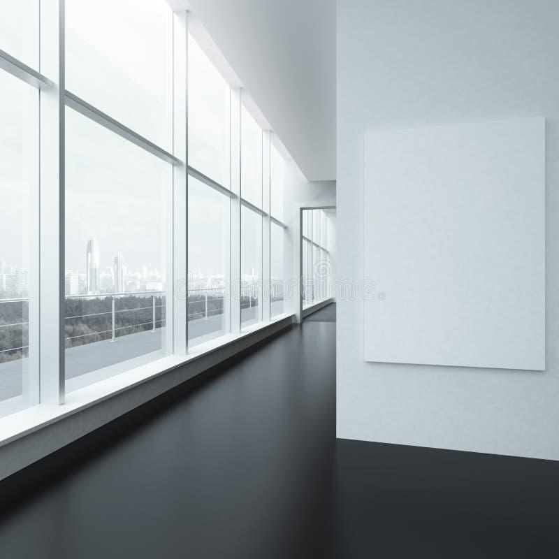 与白色框架和窗口的办公室内部 库存例证