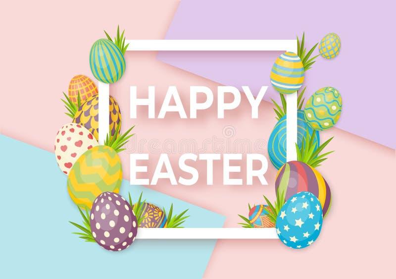 与白色框架和鸡蛋的愉快的复活节模板 传染媒介卡片用鸡蛋和草 库存例证