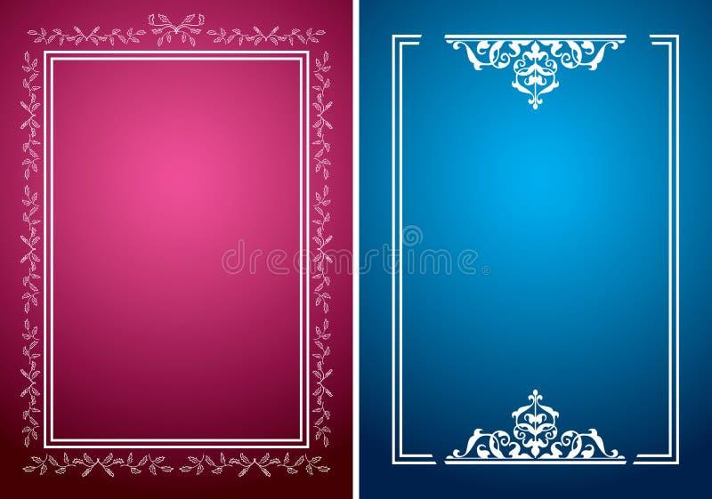 与白色框架的绯红色和蓝色背景 皇族释放例证