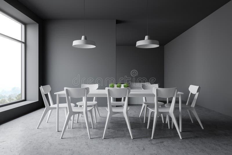与白色椅子的灰色餐厅内部 皇族释放例证
