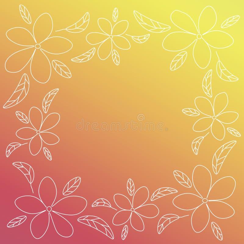 与白色概述花和叶子的红色和黄色传染媒介框架 皇族释放例证
