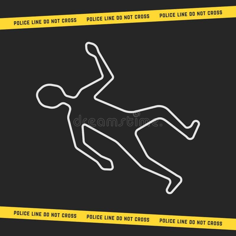 与白色概述身体的经典犯罪现场 库存例证