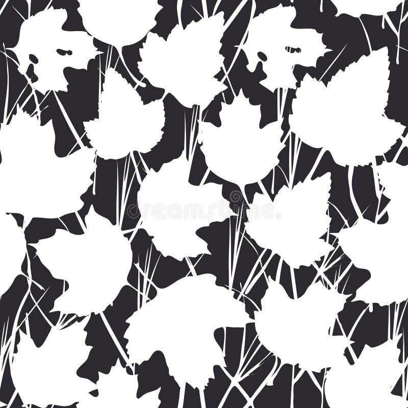 与白色槭树的传染媒介无缝的背景为时尚纺织品或网背景离开 在黑背景的剪影 向量 向量例证