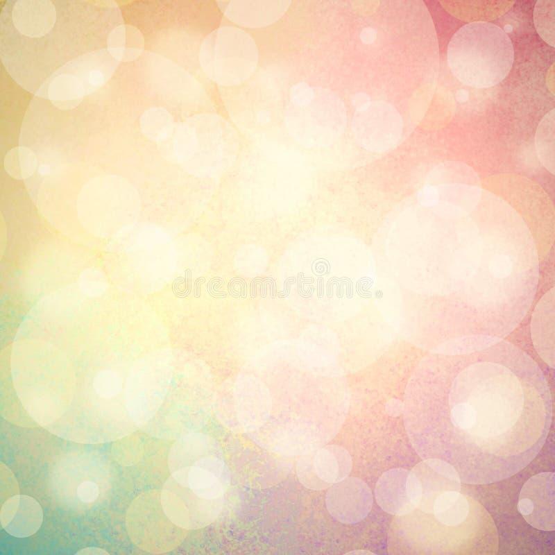 与白色泡影或bokeh光的桃红色黄色和蓝绿色背景 免版税库存照片