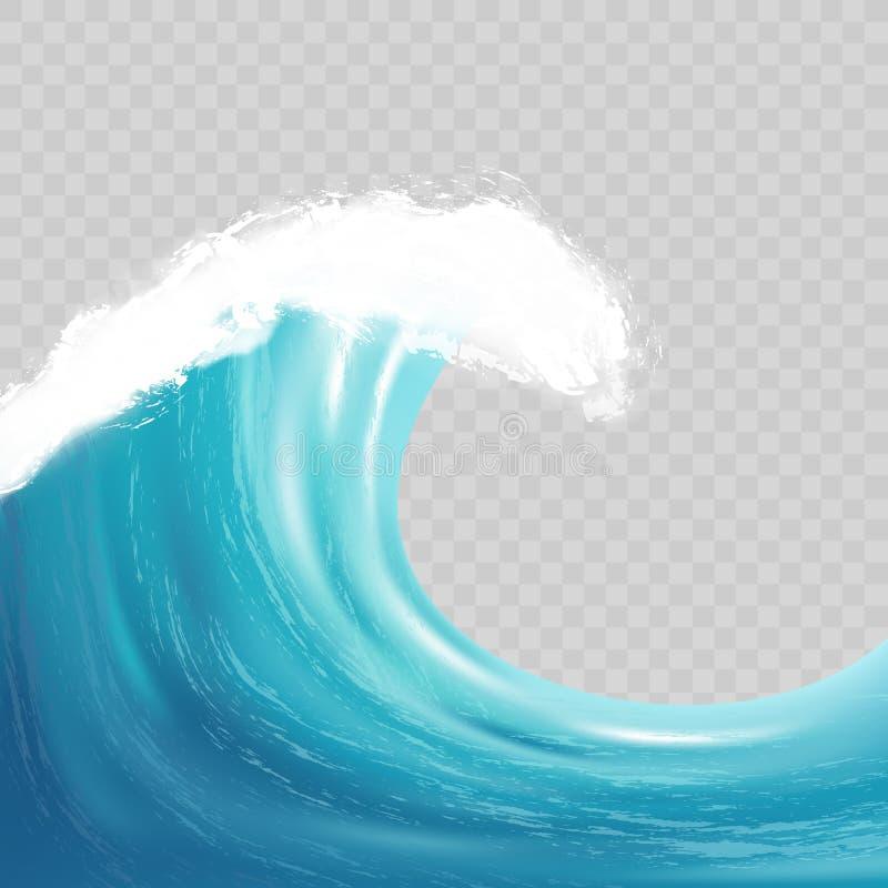 与白色泡沫的海大波浪 现实传染媒介图象 库存例证