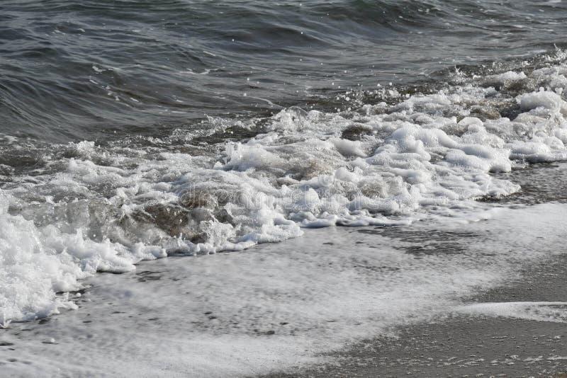 与白色泡沫的海浪波浪在湿沙子海岸线附近 库存图片