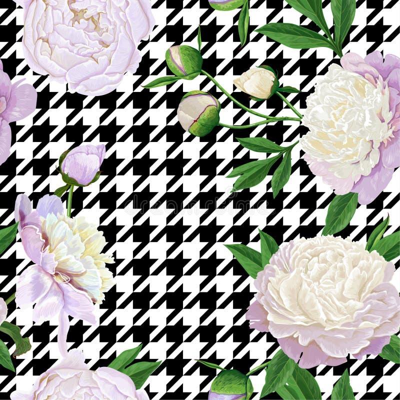 与白色牡丹的花卉无缝的样式 织品的,印刷品,婚姻的装饰春天开花的花背景 向量例证