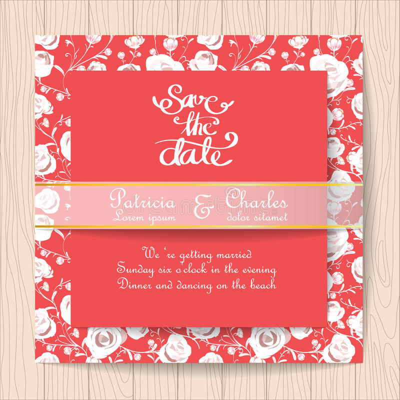 与白色玫瑰花模板的婚礼邀请红牌 库存例证
