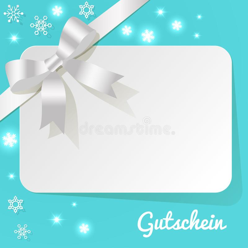 与白色珍珠丝带的礼品券在绿松石背景和雪花 皇族释放例证