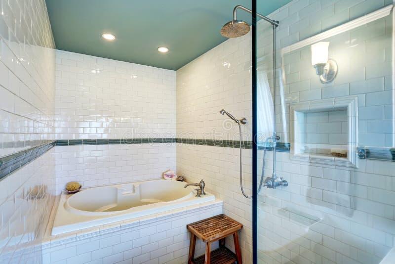 与白色瓦片修剪墙壁、玻璃客舱阵雨和浴盆的蓝色卫生间内部 库存图片