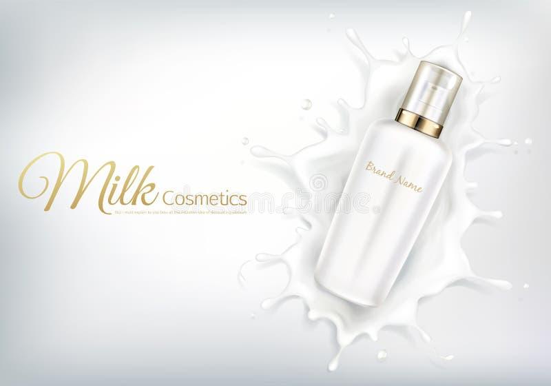 与白色瓶的传染媒介化妆横幅在牛奶漩涡 库存例证