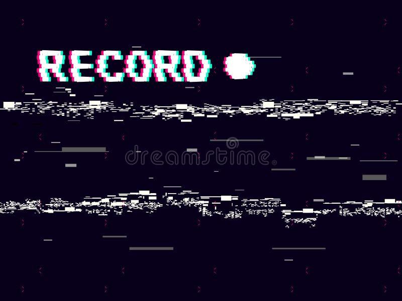 与白色畸变的小故障纪录在黑背景 与抽象几何形状的VHS概念 减速火箭的照相机 库存例证