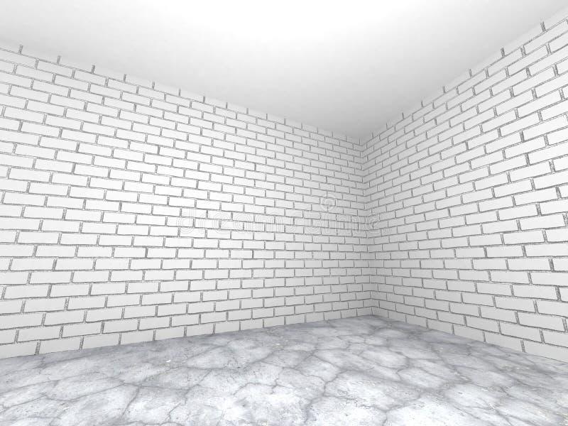 与白色砖墙和水泥地板的空的室内部 Ab 向量例证