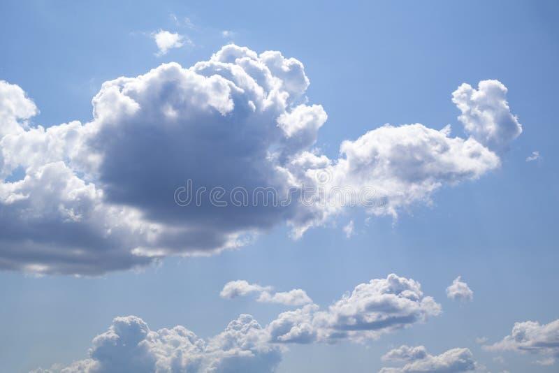 与白色积云的天空蔚蓝在一个夏日 免版税库存照片
