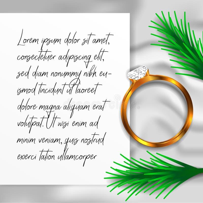 与白色纹理毯子和纸的圆环订婚婚礼珠宝金刚石顶视图 免版税库存图片