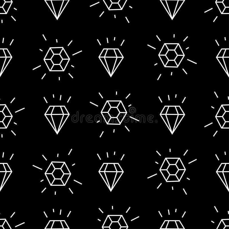 与白色线性金刚石的几何无缝的样式 简单的动画片金刚石样式 向量例证