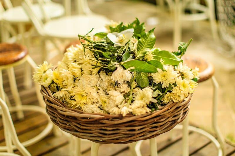 与白色菊花的藤条圆的篮子在凳子开花 供他轻人早晨休眠住宿 库存照片