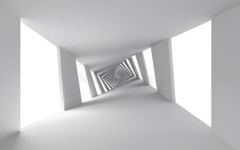 与白色螺旋走廊的抽象3d背景 向量例证