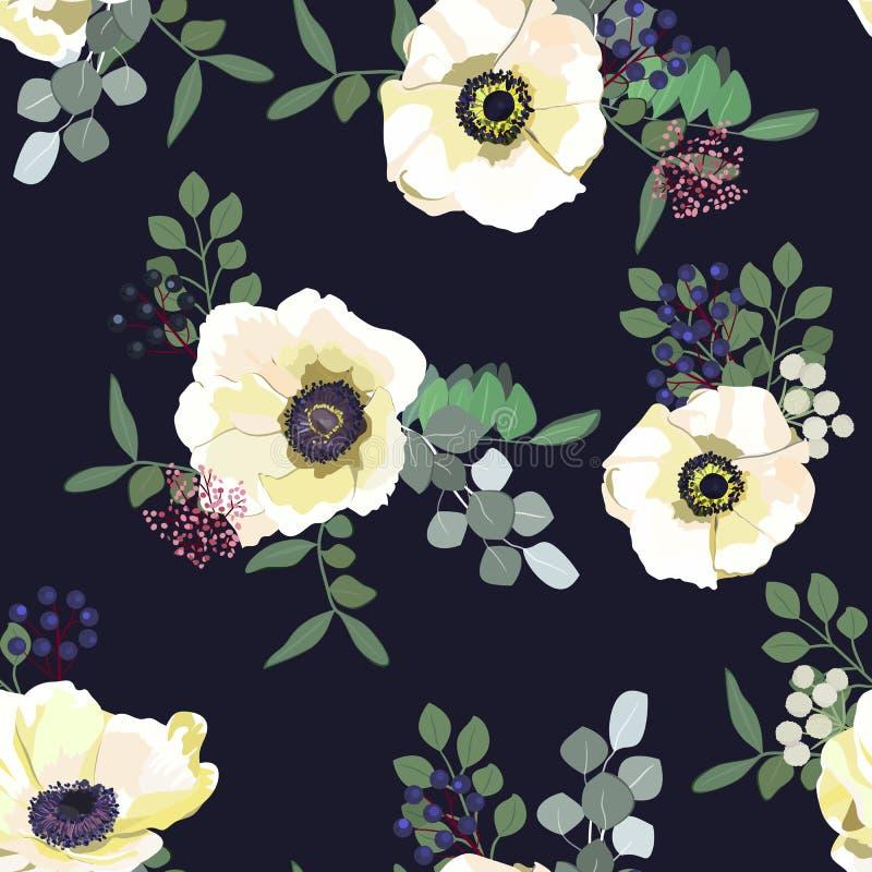 与白色银莲花属花、莓果和绿叶的无缝的样式在黑暗的背景 婚姻的冬天花卉设计 皇族释放例证