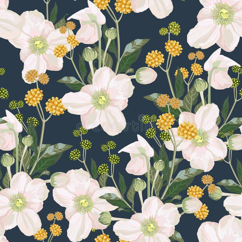 与白色银莲花属花和黄色草本的无缝的样式 库存例证