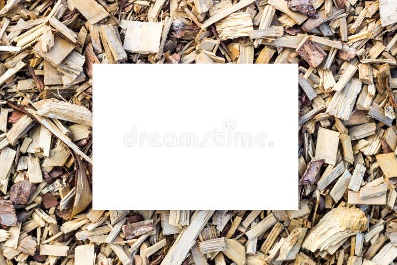 与白色长方形的形状的切好的木背景 o 与切好的木头的美好的长方形框架 ?? 免版税图库摄影