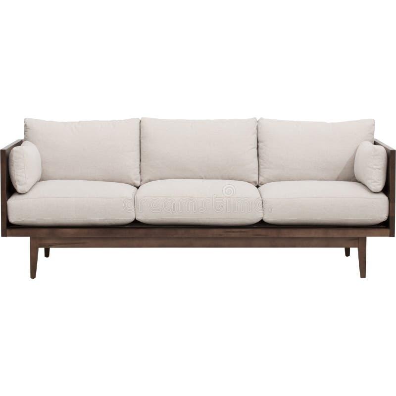 与白色长沙发的现代客厅内部在空的米黄墙壁附近 - 储蓄图象 库存图片