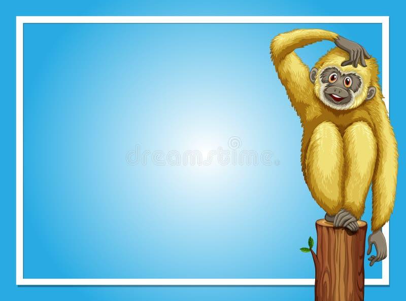与白色长臂猿的边界模板 皇族释放例证