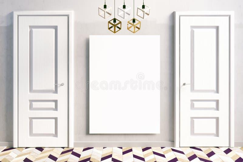 与白色门的内部 3d例证 皇族释放例证